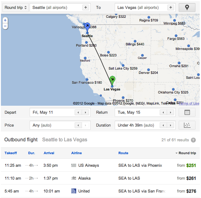 Google Flight Search screenshot