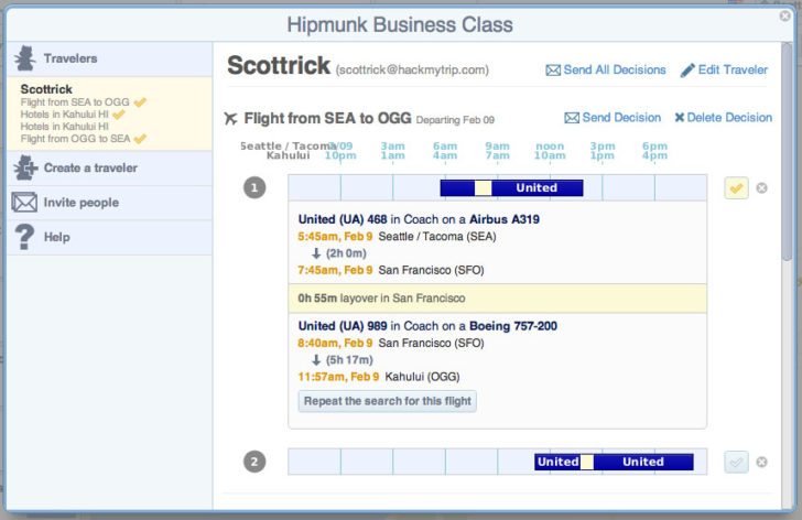 Hipmunk timebars view screenshot