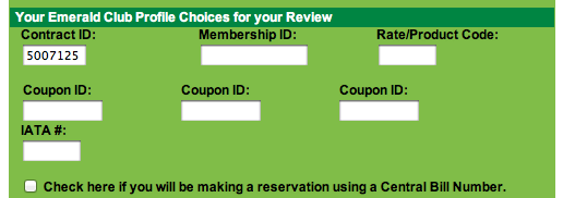 image of National discount code entry page