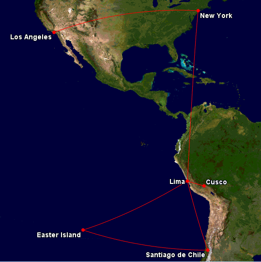 A map of the routing