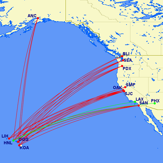 Man, isn't that a pretty Avios map! 12,500 each way in coach on all of these routes. Alaska is in Red, American is in Green