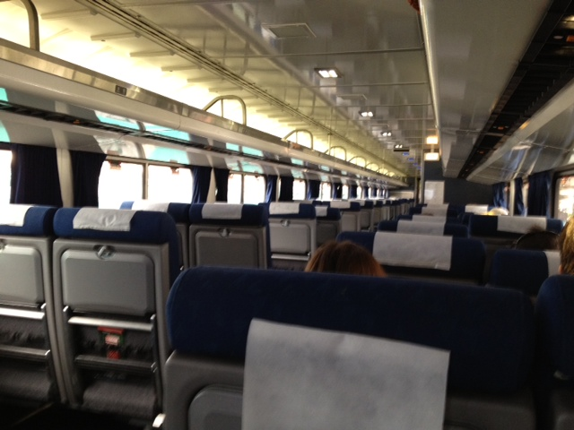 view of interior of Amtrak coach car