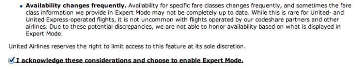 United Expert Mode disclaimer
