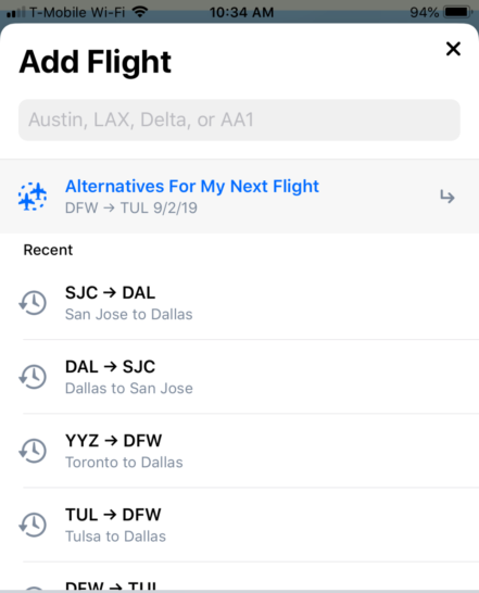 Alternate flight finder